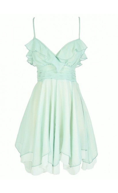 Forest Fairy Chiffon Ruffle Designer Dress in Sage