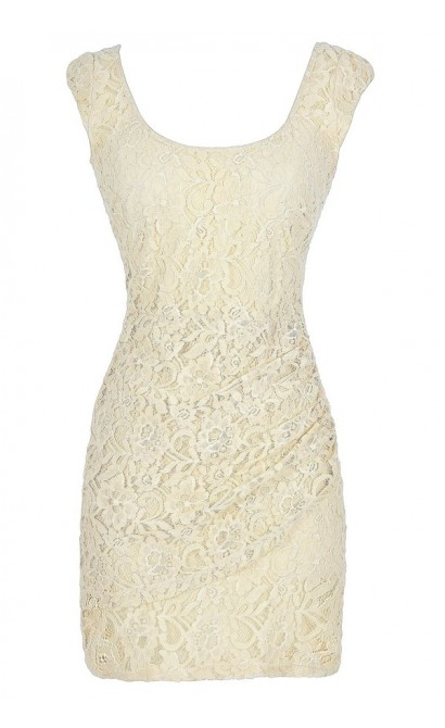 Morning Mist Lace Bodycon Dress in Cream