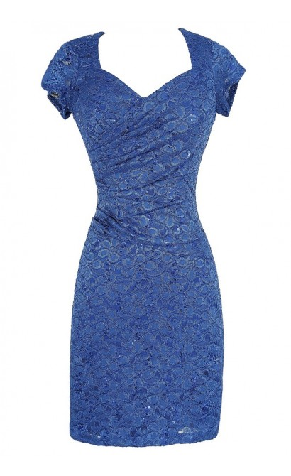 Gathered Sequin and Lace Capsleeve Pencil Dress in Royal Blue