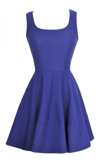 Textured Twirl Dress in Royal Blue
