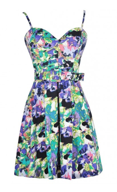 Watercolor Blooms Belted Designer Dress