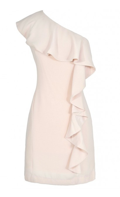 One Shoulder Waterfall Ruffle Dress in Shell