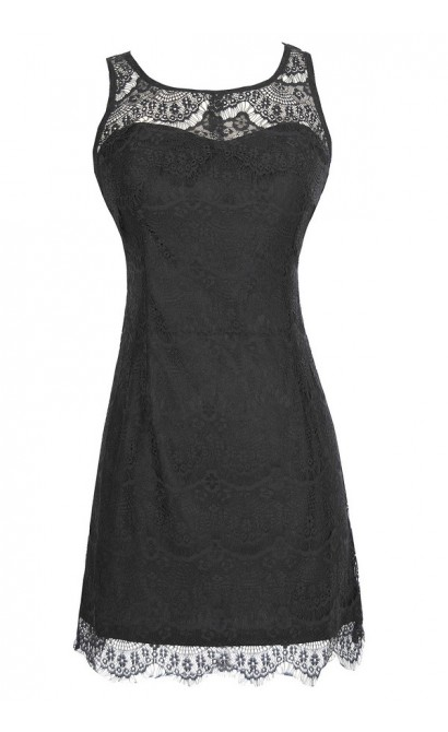 Sleeveless Lace Overlay Dress in Black