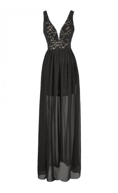 Maximum Impact Lace and Chiffon Designer Dress in Black