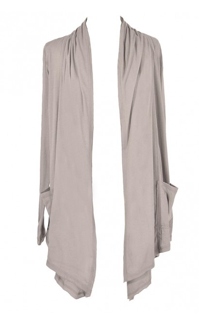 Cozy Up Open Longline Cardigan in Hazy Grey