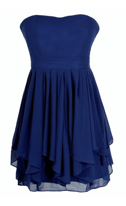 Ruffled Edges Chiffon Designer Dress in Blue/Orange