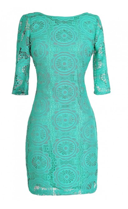 My Muse Fitted Lace Dress in Jade