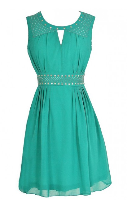 Gold Studded Chiffon Dress in Jade
