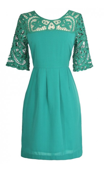 Something Extra Crochet Lace Neckline Dress in Jade