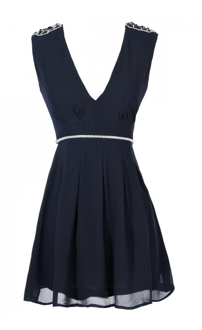 Belted Beaded Shoulder Chiffon Dress in Navy
