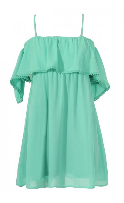 Sweet On You Off Shoulder Ruffle Tunic in Mint