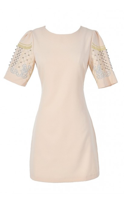 Light and Airy Embellished Sleeve Sheath Dress in Beige