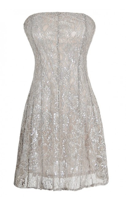 Metallic Angel Strapless Lace Dress in Silver Grey