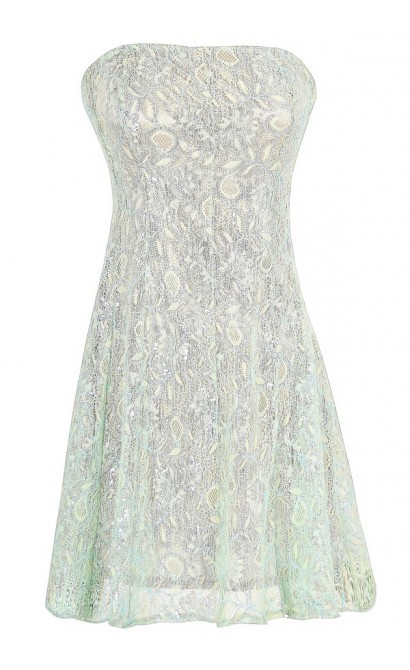 Metallic Angel Strapless Lace Dress in Silver Mint