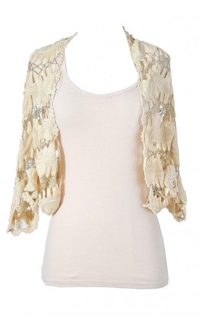 Golden Touch Beige and Gold Crochet Vest