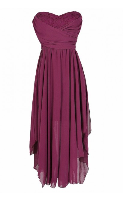 Berry Purple Chiffon and Lace Midi Dress, Berry Purple Chiffon Party Dress