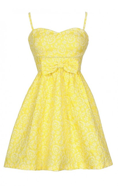 Bright Yellow Sundress, Cute Juniors Dress, Yellow Bridesmaid Dress, Bright Yellow Bow Dress, Yellow Party Dress