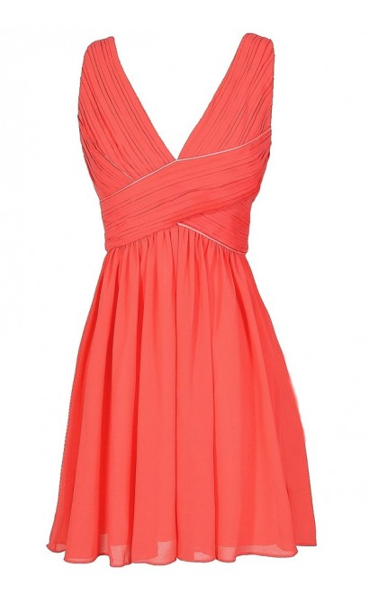 Cute Coral Chiffon Dress, Coral Chiffon Party Dress, Cute Coral Summer Cocktail Dress