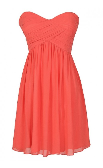 Cute Coral Chiffon Strapless Bridesmaid Dress, Cute Chiffon Coral Party Dress, Coral Chiffon Dress