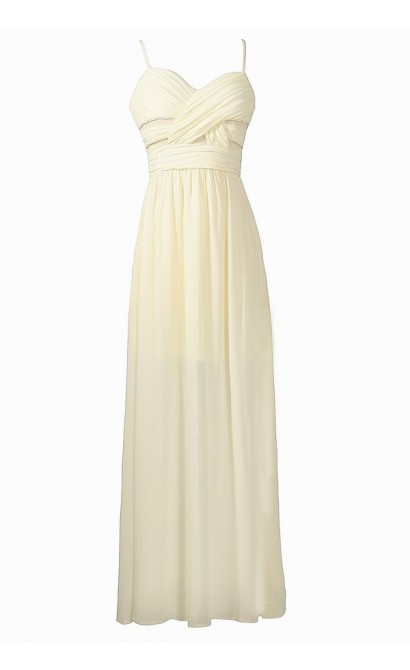 Ivory Chiffon Maxi Dress, Ivory Chiffon Maxi Rehearsal Dinner Dress, Ivory Chiffon Maxi Prom Dress