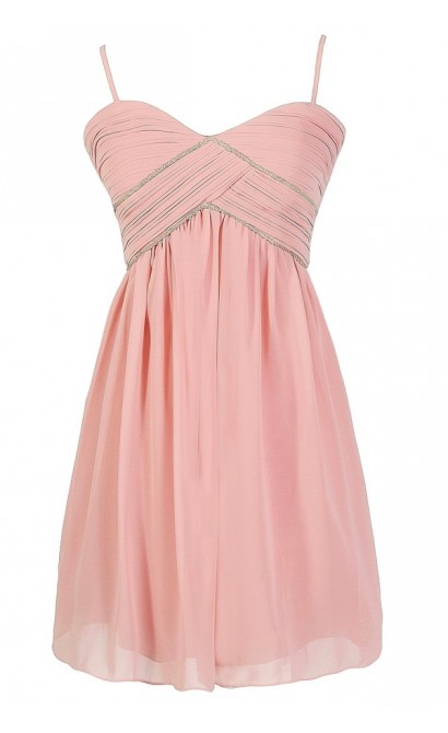 Pink Embellished Chiffon Dress, Pink Beaded Prom Dress, Pink Beaded Bridesmaid Dress, Pink Beaded A-line Party Dress