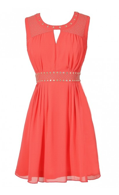 Cute Coral Chiffon Studded Dress, Cute Juniors Coral Chiffon Dress, Cute Coral Summer Dress