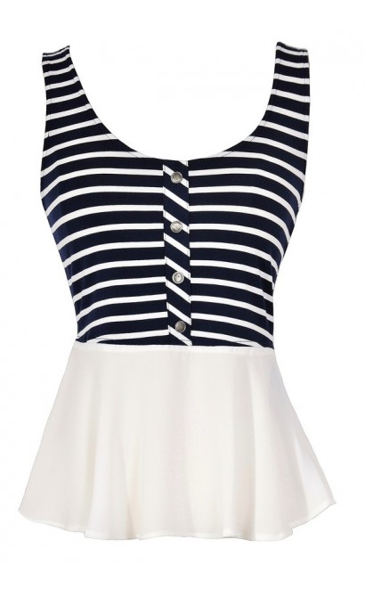Navy and White Stripe Peplum Top, Navy and White Nautical Style Top, Stripe Casual Summer Top