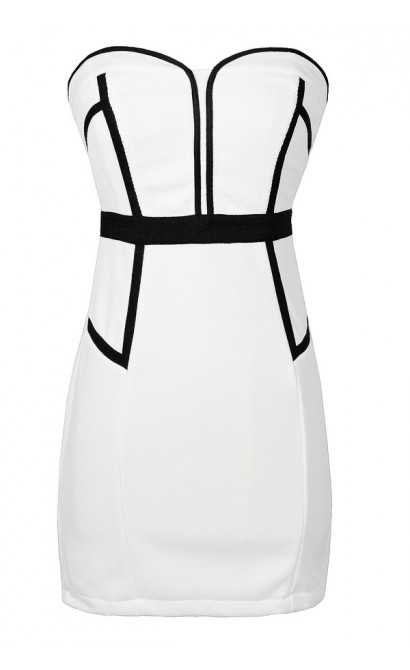 Black and White Strapless Dress, Cute Black and White Summer Dress, Black and White Cocktail Dress