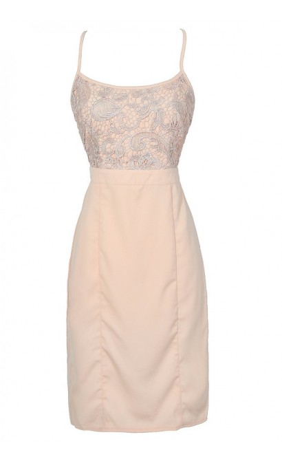 Cute Blush Pink Lace Pencil Dress, Cute Pink Lace Dress, Blush Pink Crochet Lace Pencil Dress