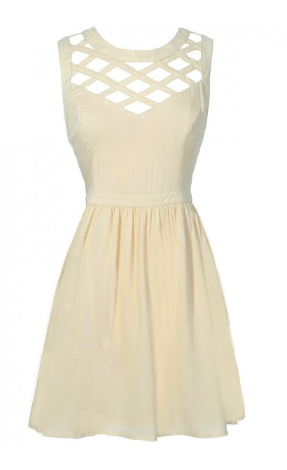 Cute Beige Cutout Lattice Dress, Cute Beige Party Dress, Beige Summer Dress