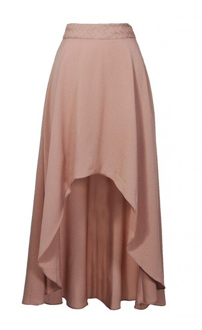 Nude High Low Maxi Skirt, Cute Beige Summer Maxi Skirt, High Low Beige Skirt