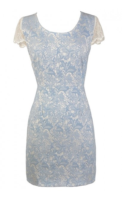 Blue and Ivory Lace Dress, Blue and White Lace Dress, Blue and White Dress, Blue Lace Shift Dress, Blue Lace Dress, Cute Blue Lace Juniors Dress, Cute Summer Dress
