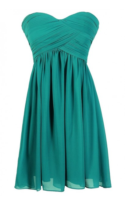 Teal Bridesmaid Dress, Cute Teal Dress, Teal Strapless Dress, Teal Strapless Bridesmaid Dress, Teal Party Dress, Teal Cocktail Dress, Cute Teal Juniors Dress