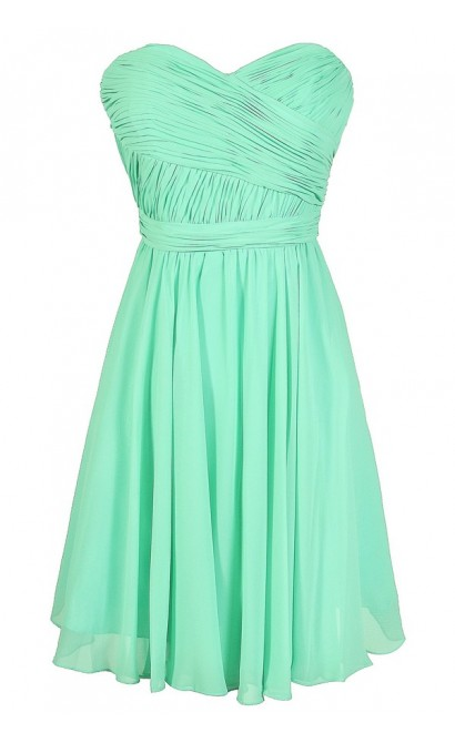 Mint Bridesmaid Dress, Mint Chiffon Bridesmaid Dress, Mint Strapless Bridesmaid Dress, Green Bridesmaid Dress, Mint Summer Dress