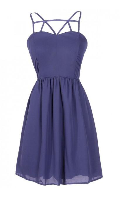 Royal Blue Party Dress, Royal Blue Web Dress, Blue Cage Dress, Royal Blue Cocktail Dress, Blue Party Dress