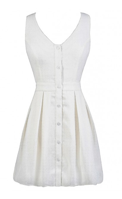Cute White Dress, White Summer Dress, White Button Down Dress, Cute White Sundress
