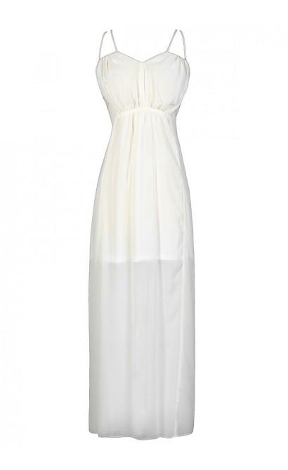 Off White Maxi Dress, Ivory Maxi Dress, Off White Chiffon Dress, Ivory Prom Dress, Ivory Maxi Dress