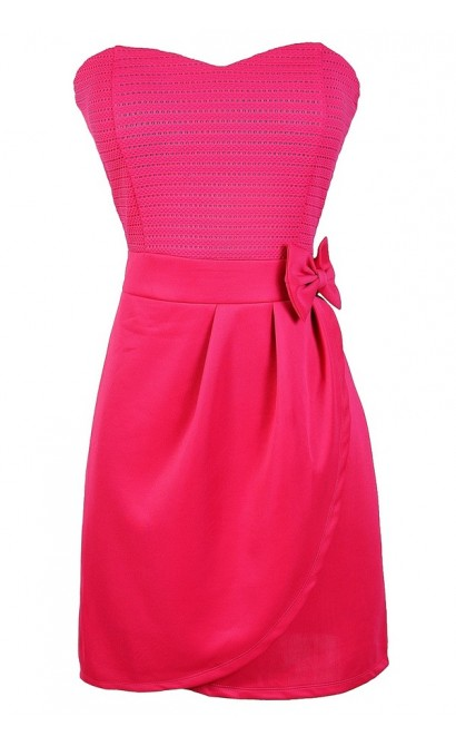 Hot Pink Dress, Cute Pink Bow Dress, Hot Pink Party Dress, Pink Strapless Dress, Cute Pink Summer Dress