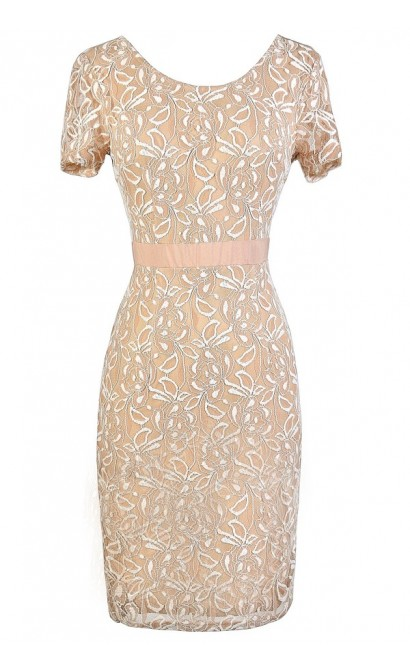 Beige Lace Dress, Cute Beige Dress, Beige and Ivory Dress, Beige Summer Dress, Cute Lace Dress, Beige Fitted Lace Pencil Dress, Beige Lace Pencil Dress
