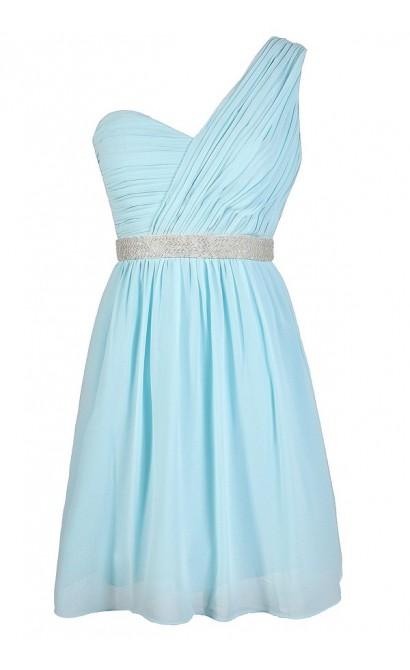 Blue One Shoulder Dress, Pale Blue Beaded Prom Dress, Pale Blue One Shoulder Embellished Dress, Sky Blue Beaded One Shoulder Dress, Sky Blue Prom Dress