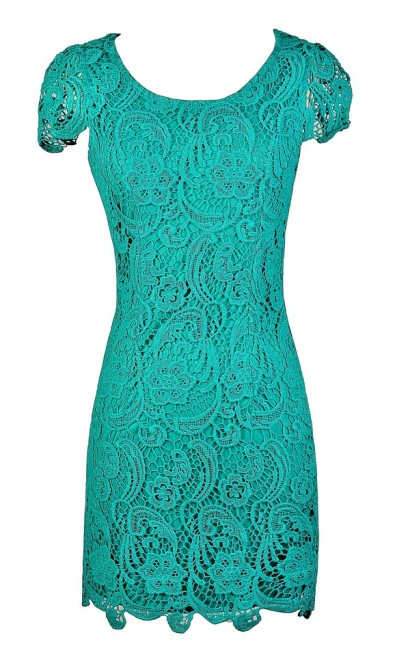 Teal Crochet Lace Dress, Teal Lace Capsleeve Dress, Crochet Lace Pencil Dress, Fitted Teal Crochet Lace Dress, Teal Pencil Dress, Cute Teal Dress