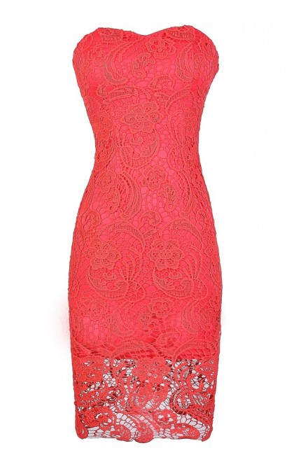 crochet lace strapless dress coral crochet lace dress