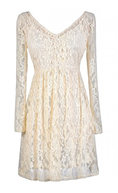 Ivory Lace Dress, Beige Lace Dress, Longsleeve Lace Dress, Beige Lace Rehearsal Dinner Dress, Ivory Lace Rehearsal Dinner Dress, Cute Lace Dress