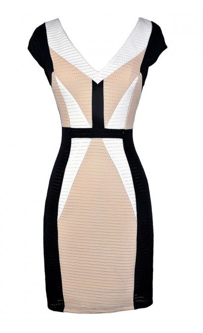 Cute Colorblock Dress, Black and Beige Colorblock Dress, Black and Beige Pencil Dress, Colorblock Pencil Dress, Black and Beige Business Casual Dress