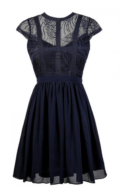 Navy Lace Dress, Cute Navy Dress, Navy Party Dress, Navy Sundress, Navy A-Line Dress, Blue Lace Dress