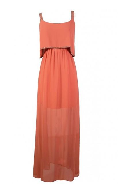 Flutter Top Maxi Dress, Cute Maxi Dress, Burnt Coral Maxi Dress, Burnt Coral Flutter Top Dress, Studded Maxi Dress, Coral Chiffon Maxi Dress