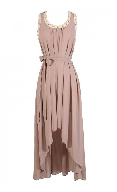 Mocha High Low Dress, Taupe High Low Dress, Brown High Low Dress, Chiffon High Low Dress