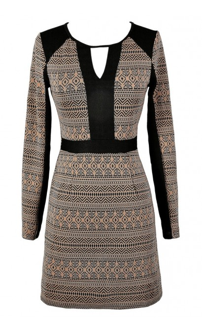 Black and Brown Dress, Black and Mocha Dress, Longsleeve Dress, Cute Fall Dress, Cute Winter Dress, Cute Sweater Dress