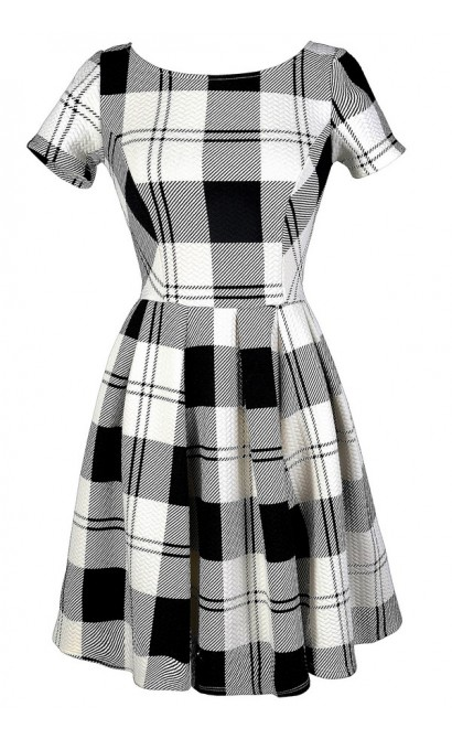 Black and White Plaid Dress, Cute Plaid Dress, Black and Ivory Plaid Dress, Black and White Plaid A-Line Dress, Black and Ivory Plaid A-Line Dress