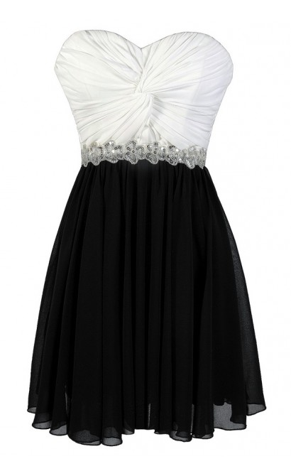 Black and White Party Dress, Black and White Prom Dress, Black and White Colorblock Dress, Black and White Sequin Dress, Black and White A-Line Dress, Cute Black and White Dress